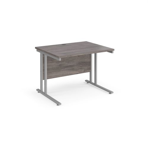 Maestro 25 straight desk 1000mm x 800mm - silver cantilever leg frame and grey oak top