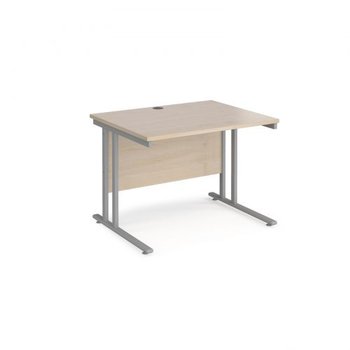 Maestro 25 straight desk 1000mm x 800mm - silver cantilever leg frame and maple top
