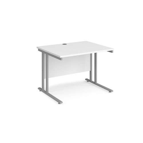 Maestro 25 straight desk 1000mm x 800mm - silver cantilever leg frame and white top