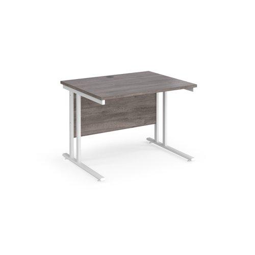 Maestro 25 straight desk 1000mm x 800mm - white cantilever leg frame and grey oak top