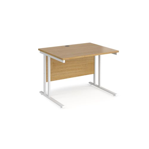 Maestro 25 straight desk 1000mm x 800mm - white cantilever leg frame and oak top