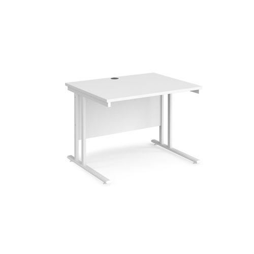 Maestro 25 straight desk 1000mm x 800mm - white cantilever leg frame and white top