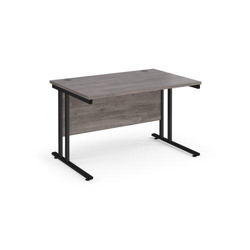 Maestro 25 straight desk 1200mm x 800mm - black cantilever leg frame and grey oak top