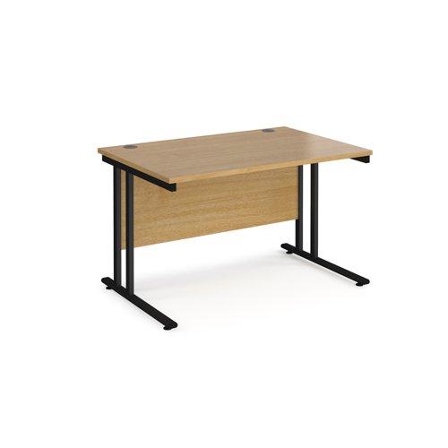 Maestro 25 straight desk 1200mm x 800mm - black cantilever leg frame and oak top