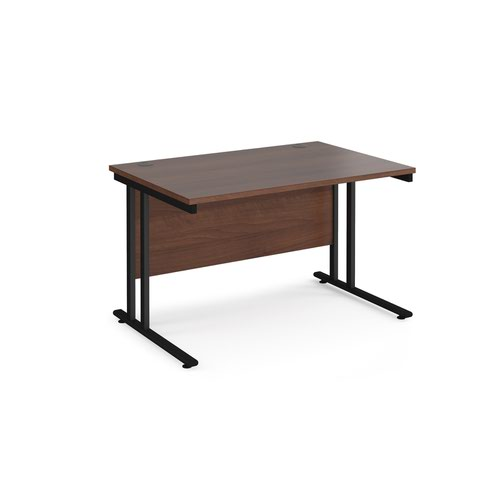 Maestro 25 straight desk 1200mm x 800mm - black cantilever leg frame and walnut top