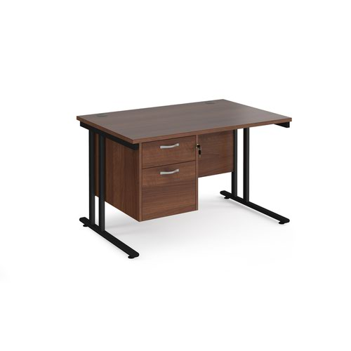 Maestro 25 straight desk 1200mm x 800mm with 2 drawer pedestal - black cantilever leg frame and walnut top