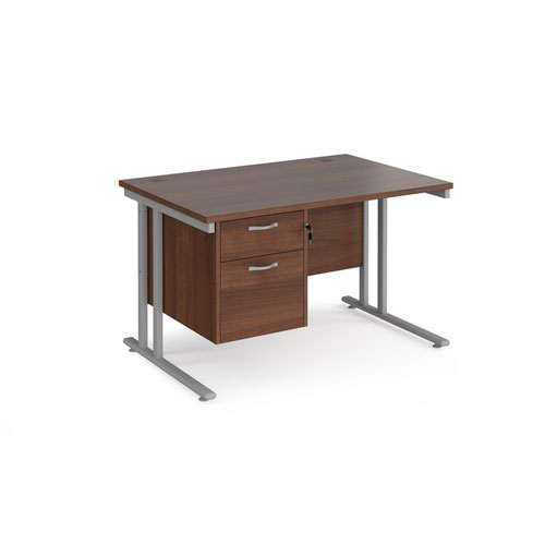 Maestro 25 straight desk 1200mm x 800mm with 2 drawer pedestal - silver cantilever leg frame and walnut top