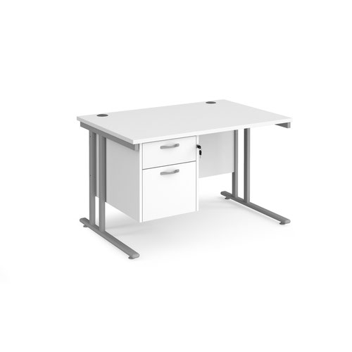 Maestro 25 straight desk 1200mm x 800mm with 2 drawer pedestal - silver cantilever leg frame and white top