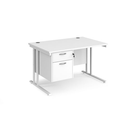 Maestro 25 straight desk 1200mm x 800mm with 2 drawer pedestal - white cantilever leg frame and white top