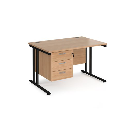 Maestro 25 straight desk 1200mm x 800mm with 3 drawer pedestal - black cantilever leg frame and beech top