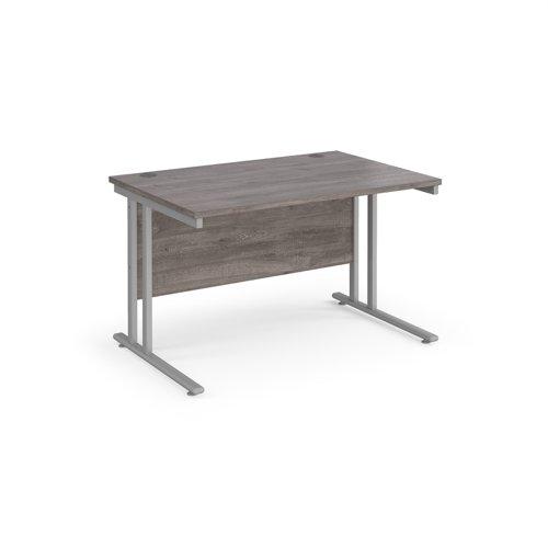 Maestro 25 straight desk 1200mm x 800mm - silver cantilever leg frame and grey oak top