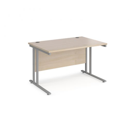 Maestro 25 straight desk 1200mm x 800mm - silver cantilever leg frame and maple top