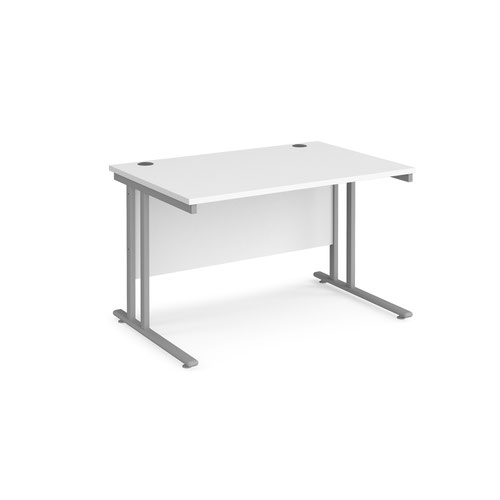 Maestro 25 straight desk 1200mm x 800mm - silver cantilever leg frame and white top