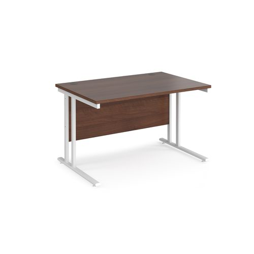 Maestro 25 straight desk 1200mm x 800mm - white cantilever leg frame and walnut top