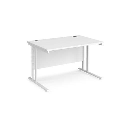 Maestro 25 straight desk 1200mm x 800mm - white cantilever leg frame and white top