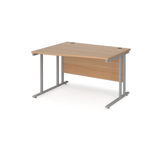 Maestro 25 left hand wave desk 1200mm wide - silver cantilever leg frame and beech top