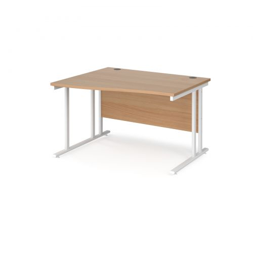 Maestro 25 left hand wave desk 1200mm wide - white cantilever leg frame and beech top
