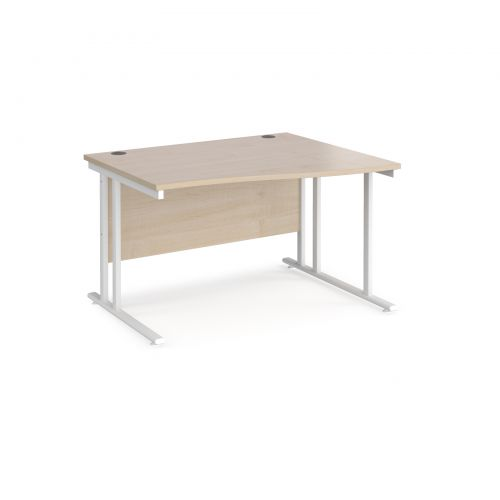 Maestro 25 right hand wave desk 1200mm wide - white cantilever leg frame and maple top