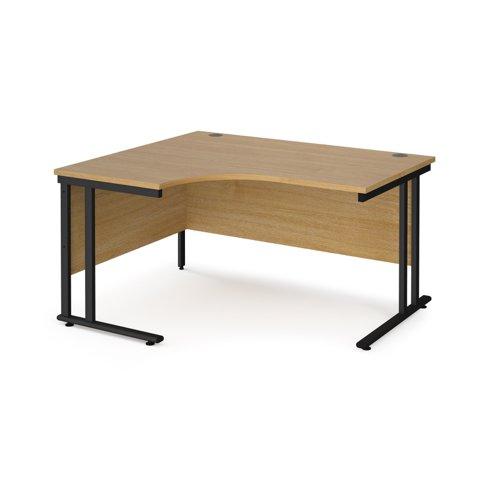 Maestro 25 left hand ergonomic desk 1400mm wide - black cantilever leg frame and oak top