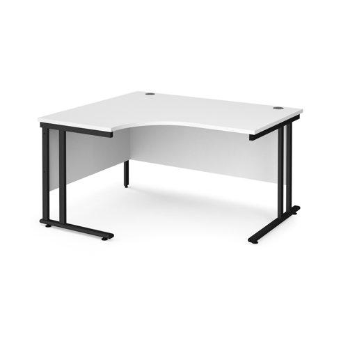 Maestro 25 left hand ergonomic desk 1400mm wide - black cantilever leg frame and white top