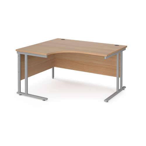 Maestro 25 left hand ergonomic desk 1400mm wide - silver cantilever leg frame and beech top