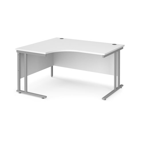 Maestro 25 left hand ergonomic desk 1400mm wide - silver cantilever leg frame and white top