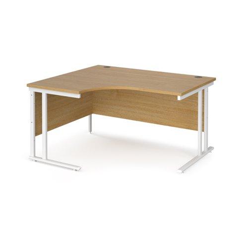 Maestro 25 left hand ergonomic desk 1400mm wide - white cantilever leg frame and oak top