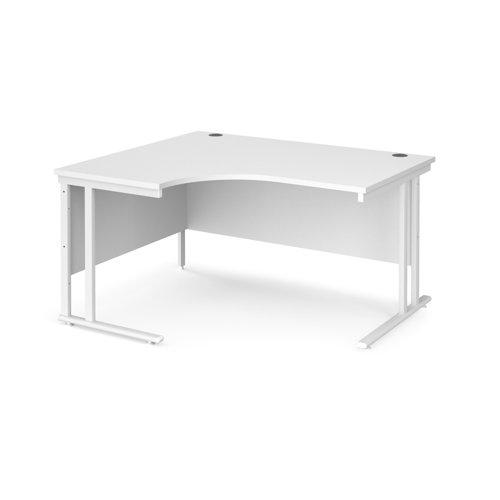 Maestro 25 left hand ergonomic desk 1400mm wide - white cantilever leg frame and white top