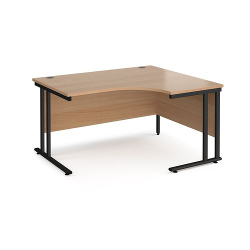 Maestro 25 right hand ergonomic desk 1400mm wide - black cantilever leg frame and beech top