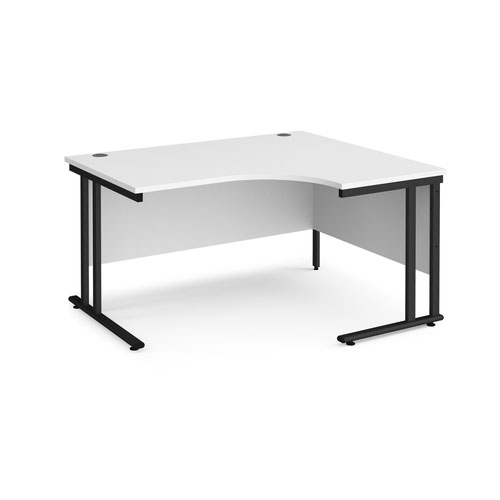 Maestro 25 right hand ergonomic desk 1400mm wide - black cantilever leg frame and white top