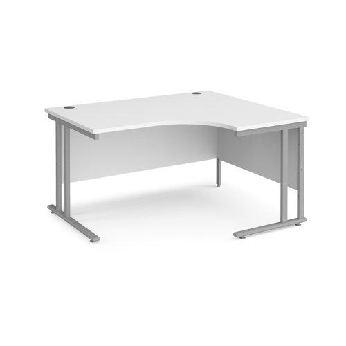 Maestro 25 right hand ergonomic desk 1400mm wide - silver cantilever leg frame and white top