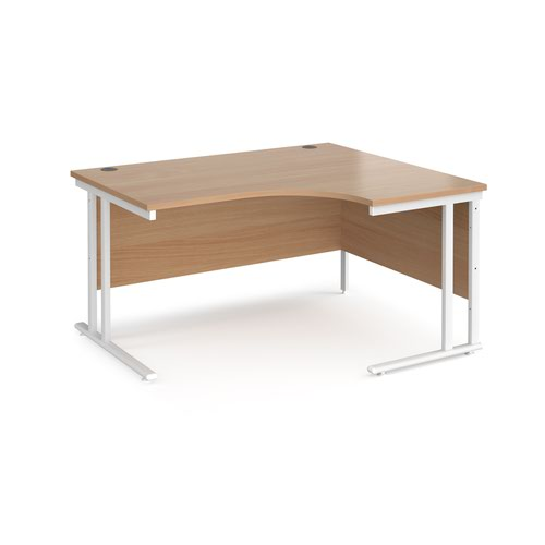 Maestro 25 right hand ergonomic desk 1400mm wide - white cantilever leg frame and beech top