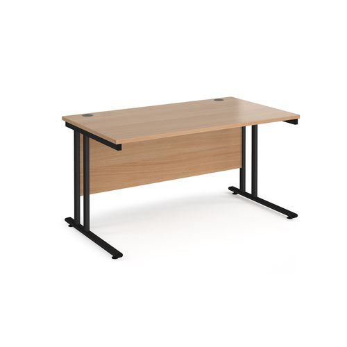 Maestro 25 straight desk 1400mm x 800mm - black cantilever leg frame and beech top