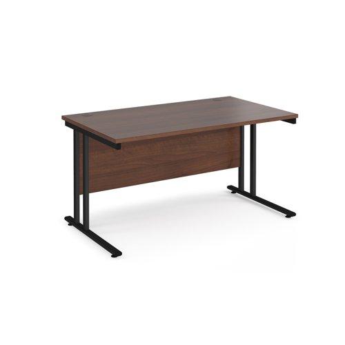 Maestro 25 straight desk 1400mm x 800mm - black cantilever leg frame and walnut top