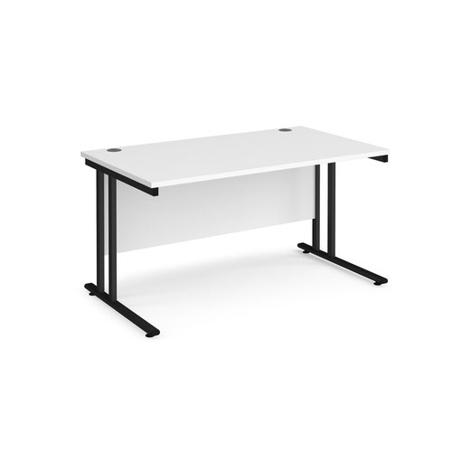 Maestro 25 straight desk 1400mm x 800mm - black cantilever leg frame and white top