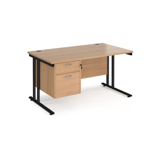 Maestro 25 straight desk 1400mm x 800mm with 2 drawer pedestal - black cantilever leg frame and beech top