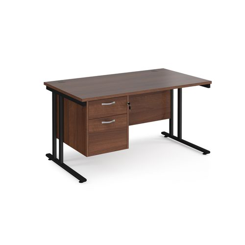 Maestro 25 straight desk 1400mm x 800mm with 2 drawer pedestal - black cantilever leg frame and walnut top