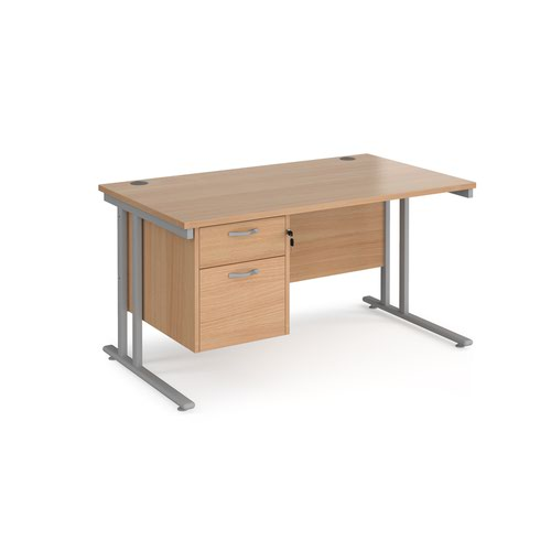 Maestro 25 straight desk 1400mm x 800mm with 2 drawer pedestal - silver cantilever leg frame and beech top
