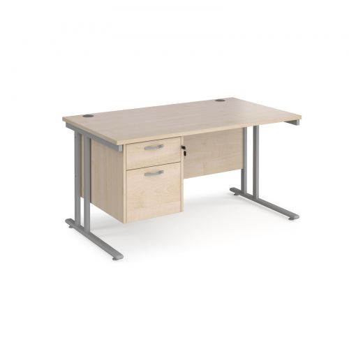 Maestro 25 straight desk 1400mm x 800mm with 2 drawer pedestal - silver cantilever leg frame and maple top