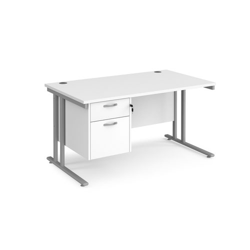 Maestro 25 straight desk 1400mm x 800mm with 2 drawer pedestal - silver cantilever leg frame and white top