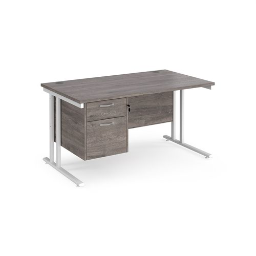 Maestro 25 straight desk 1400mm x 800mm with 2 drawer pedestal - white cantilever leg frame and grey oak top