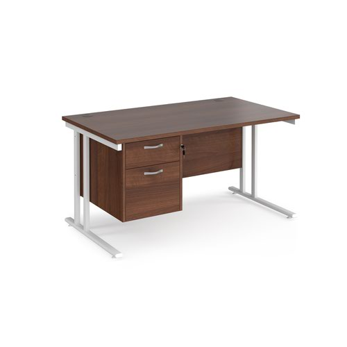 Maestro 25 straight desk 1400mm x 800mm with 2 drawer pedestal - white cantilever leg frame and walnut top