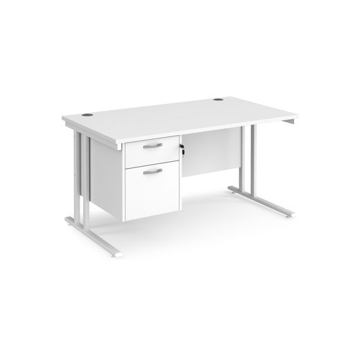 Maestro 25 straight desk 1400mm x 800mm with 2 drawer pedestal - white cantilever leg frame and white top