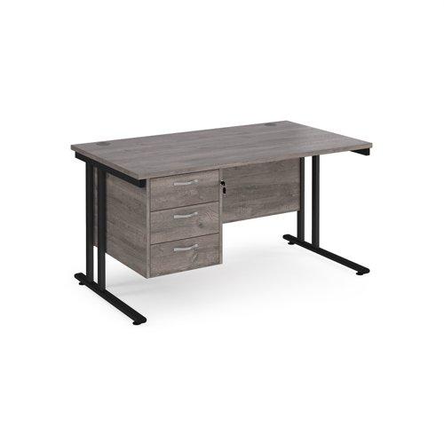 Maestro 25 straight desk 1400mm x 800mm with 3 drawer pedestal - black cantilever leg frame and grey oak top