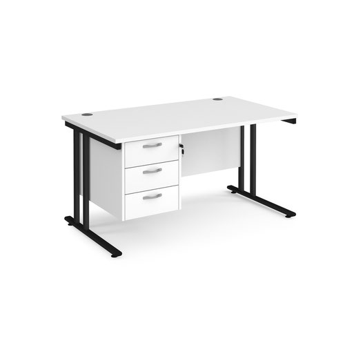 Maestro 25 straight desk 1400mm x 800mm with 3 drawer pedestal - black cantilever leg frame and white top
