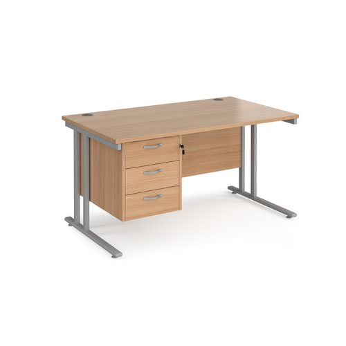 Maestro 25 straight desk 1400mm x 800mm with 3 drawer pedestal - silver cantilever leg frame and beech top