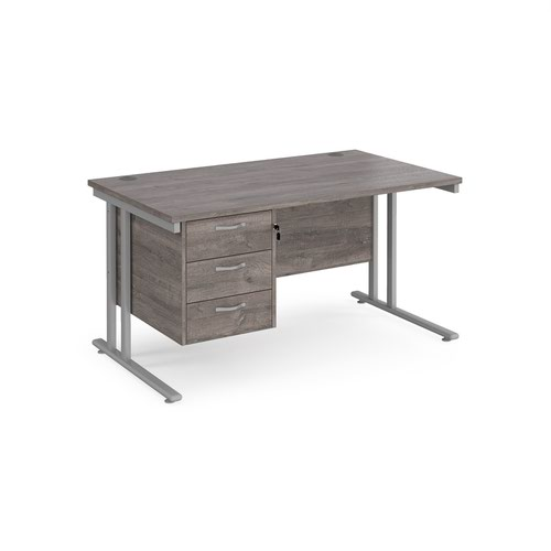 Maestro 25 straight desk 1400mm x 800mm with 3 drawer pedestal - silver cantilever leg frame and grey oak top