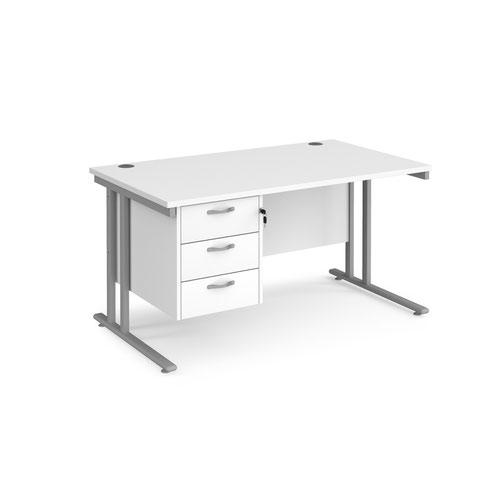 Maestro 25 straight desk 1400mm x 800mm with 3 drawer pedestal - silver cantilever leg frame and white top