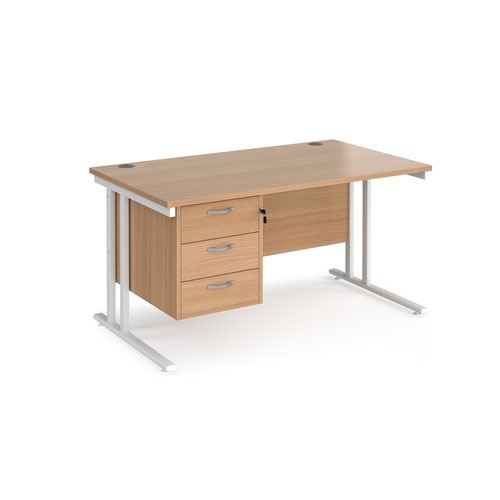 Maestro 25 straight desk 1400mm x 800mm with 3 drawer pedestal - white cantilever leg frame and beech top