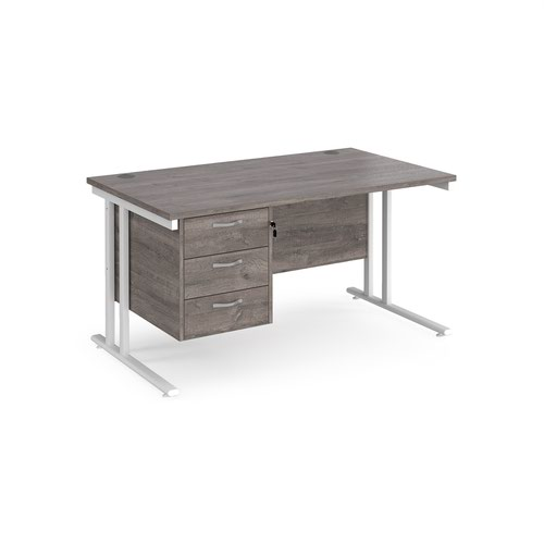 Maestro 25 straight desk 1400mm x 800mm with 3 drawer pedestal - white cantilever leg frame and grey oak top